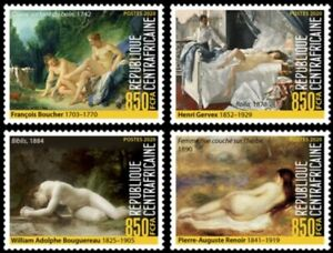 Central Africa - 2020 Nude Art on Stamps - 4 Stamp Set - CA200210c