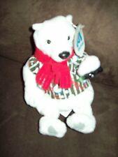 STUFFED COCA COLA POLAR BEAR FROM 1999 IN STRIPED SHIRT & TIE HOLDING COKE BOTTL