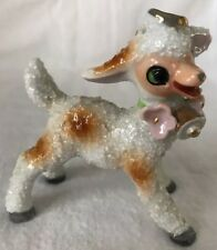 1950s Angel Lamb Figurine. Salt Glazed Porcelain. Sugar Glaze. Hand Painted/Gold