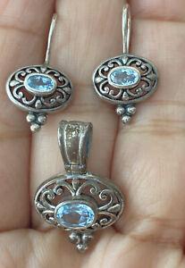 Vintage Sterling Silver Filigree Blue Topaz Pendant & Earrings Dangle Set