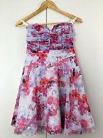 Dotti Womens Dress Size 6 Pink Purple Floral Strapless Party Cocktail