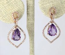 Diamante amatista pendientes largos 14K oro rosa redondo gotas pera CT DE 3,15