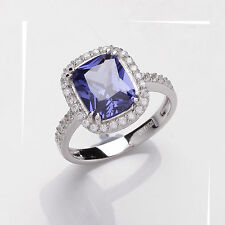 Sapphire Ring Halo Ring Engagement Ring Sterling Silver Platinum Plated Ring