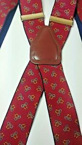 Men's Suspenders CAS West GERMANY Red With Shackle and Rope icons Brass Clip Ons