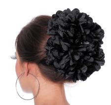 Haarschmuck - Blume schwarz, Haarklammer mit Blume, Karneval Fasching