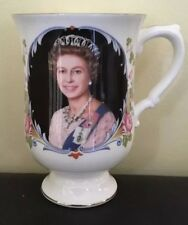 Crown Staffordshire Bone China Queen Silver Jubilee Footed Mug - Boxed