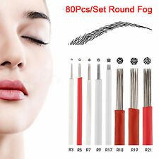 80Pcs/Set Mix Microblade Permanent Makeup Manual Eyebrow Tattoo Round Fog Needle