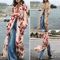 Women Floral Printed Shirt Autumn Ladies Long Maxi Top Blouse Robe Plus Size