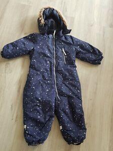 Jungen Schneeanzug Blau Weltall H&M 92 Kapuze