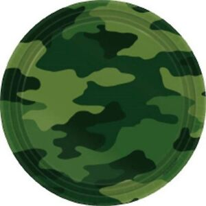 Camouflage Party Snack Plates 17cm 8pk - Military Army Greens Party Supplies