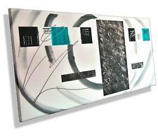 MK1 Art Bild Leinwand Abstrakt Gemälde Kunst Malerei Acryl Bilder türkis grau XL
