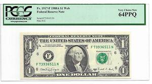 """1988A $1 ATLANTA """"WEB"""" FRN PCGS VERY CHOICE NEW 64 PPQ, PLATES 3/2 RUN 12, F/N"""