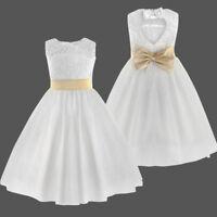 Mädchen Princess Spitze Fest Kleid Kinder Hochzeit Taufe Blumen Kommunion Weiss
