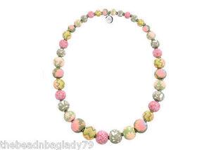 NEW JILZARA Large Graduated Clay Beads CORAL PINK Handmade KEEPSAKE Necklace
