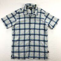 Patagonia A/C Mens Sm Blue Yellow Plaid Short Sleeve Button Up Hot Weather Shirt