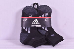 Youth Boy's Adidas 6 - Pair Quarter Cushioned Socks, Black / Grey, 13C - 4Y