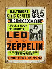 Letrero de Metal Shabby Chic Vintage Retro Estilo Placa de Puerta de Pared LED Zeppelin Poster