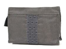 Auth HERMES Her Line Canvas Pouch Gray Makeup Bag Organizer 18623985