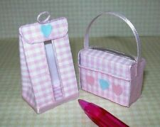 Miniature Baby's Diaper Bag/Diaper Stacker, Pink Gingham: DOLLHOUSE 1:12 Scale