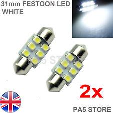 2x 31 mm Blanco 6 SMD LED Bombillas - 6000k Número De Matrícula Luz Interior-Mazda Honda
