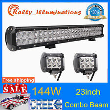 23inch 144W CREE Led Light Bar Combo beam+ 2X 18W Work Light Mining offroad 4IN