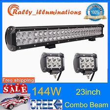 23inch 144W CREE Led Light Bar + 2X 4'' 18W Fog Work Lamp Offroad Truck 12V24V
