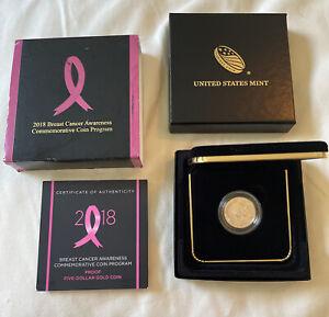 2018-W $5 Gold Proof, Breast Cancer Awareness Commemorative Coin w/ BOX & COA