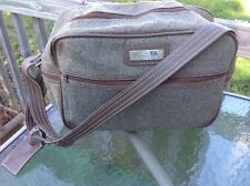 Vintage Jordache Tweed Carry On Luggage Over Night Tote Shoulder Bag Brown Gray