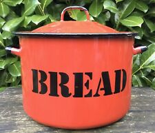 Large Vintage Retro 1980s Red Enamel Bread Bin Made By Silesia Poland