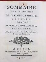 Marie Antoinette 1786 Cagliostro Rohan La Motte Affaire du Collier de la Reine