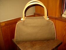 New Unused Fossil Brown Canvas, Wooden Handles, Leather Trim Handbag