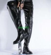 Sexy Mens patent leather zip Lace up Over knee Round toe thigh high Knight Boots