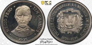 Dominican Republic 1976 1/2 Peso PCGS PR66CAM Cameo Proof