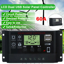 LCD 60A Solar Charger Controller PWM Dual USB Charge Regulator Panel 12V/24V NEW