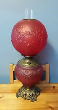 Antique Pittsburgh Gone With the Wind Red Satin Ribbons & Roses Pattern Oil Lamp