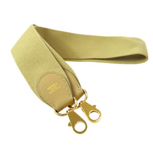 HERMES Shoulder Strap for Toolbox Beige Gold Canvas Leather Authentic 03466