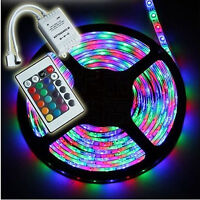 FAIRY COLOUR CHANGING 5M RGB LED STRIP WITH POWER ADAPTER AND IR REMOTE CONTROL