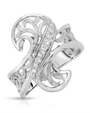 STUNNING SOLID 925 STERLING SILVER SPARKLING COCKTAIL RING 7
