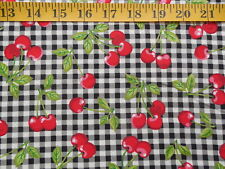 Cherry Gingham Cotton Fabric By The Yard Red Cherries on Black & White Check
