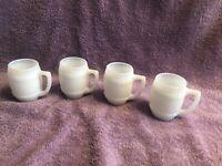 Vintage Set Of 4 Milk Glass Barrel Shot Glasses