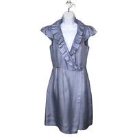 Elizabeth McKay Silk cap sleeve wrap dress 6 Ruffle collar blue lined