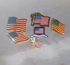 New listing Vintage Enamel Patriotic Usa Flag Lapel Pin Lot of 6