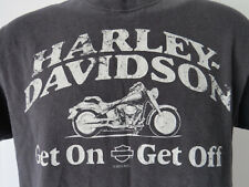 HARLEY DAVIDSON GET ON OFF Black TEE SHIRT motorcycle motorcycles Fits Like S