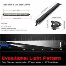 13inch 180W Flood Spot Combo LED Work Light Bar Driving Fit Offroad Boat SUV UTE