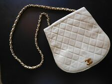 Vintage Coco Chanel Quilted Beige Shoulder Bag Purse Leather