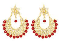 Kundan Red Plated Fashion Arrival Round Shape Party Wear Earrings Latest women