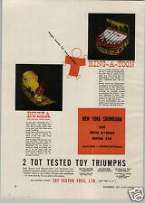 1947 PAPER AD Tot Tested Toys Co Buzza Electric Train Choo Choo Ring A Toon