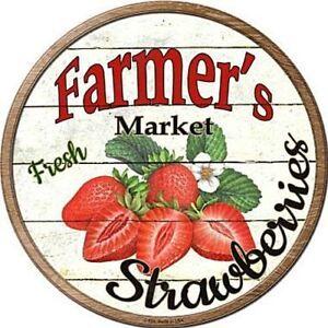 "Farmers Market Fresh Strawberries 12"" Round Metal Sign Rustic Kitchen Wall Decor"