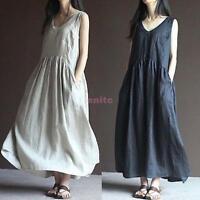 Women's Cotton Linen Loose Skirt Casual V-Neck Long Sleeveless Tunic Dress Hot n