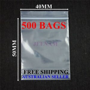 500 Resealable Zip Lock plastic bags 40MMX50MM + FREE SHIPPING